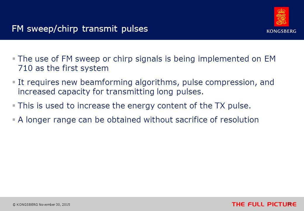 FM sweep/chirp transmit pulses