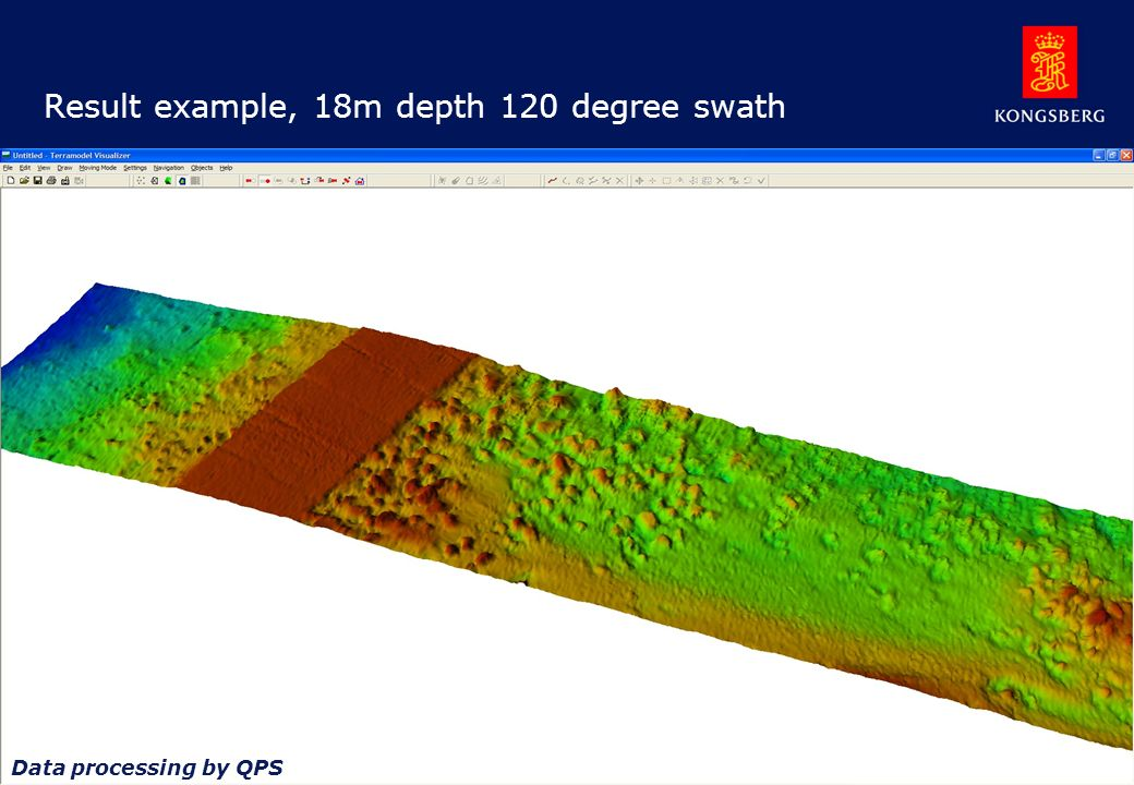 Result example, 18m depth 120 degree swath