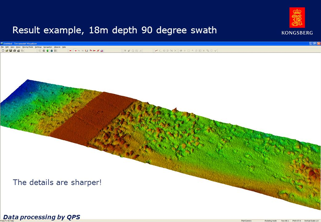 Result example, 18m depth 90 degree swath