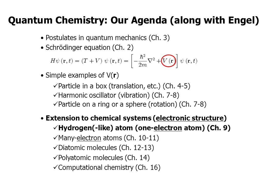 Quantum Chemistry: Our Agenda (along with Engel) - ppt download