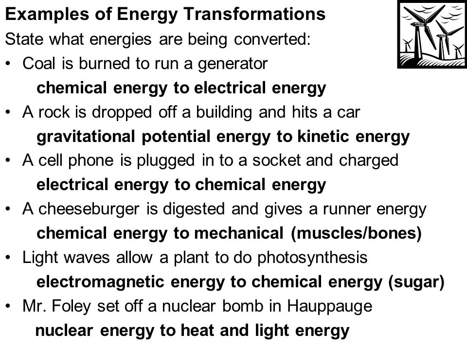 Electrical energy tranformation.
