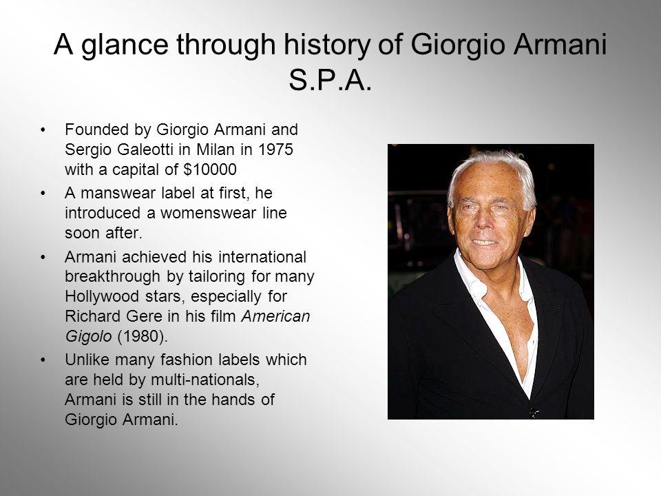 A glance through history of Giorgio Armani S.P.A. - ppt video online ... 42979b7a5a675