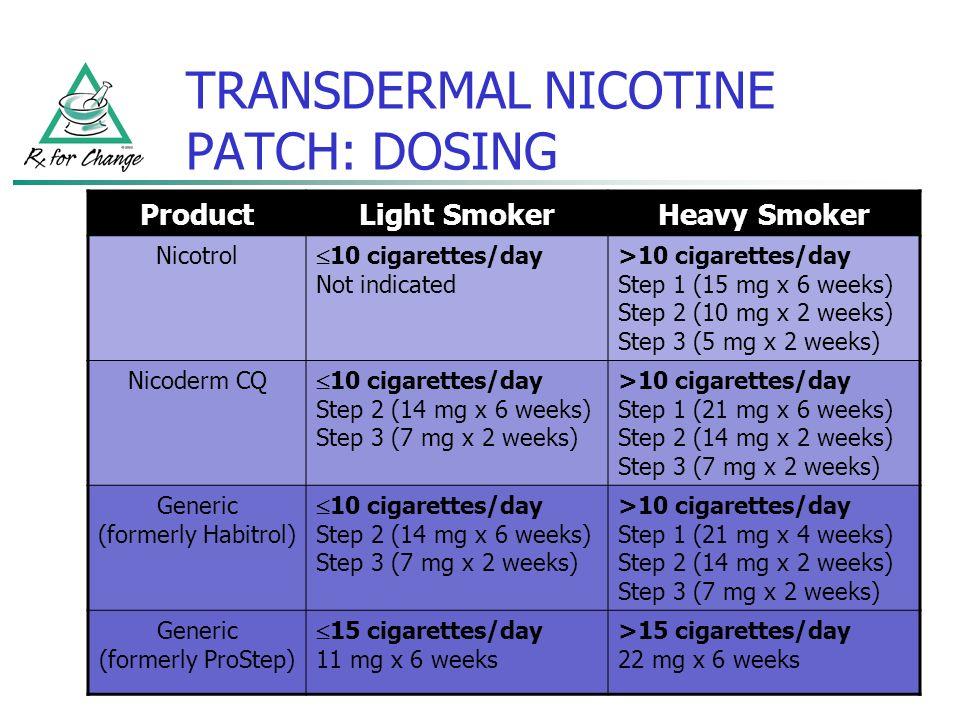 Dosage & steps   nicoderm cq.