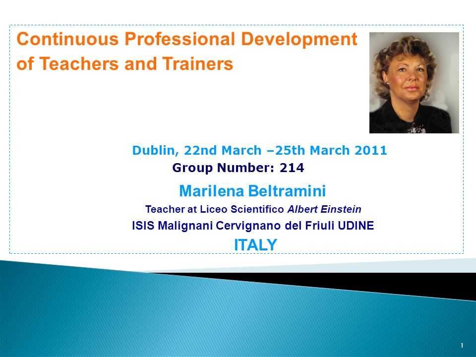 Continuous Professional Development of Teachers and Trainers