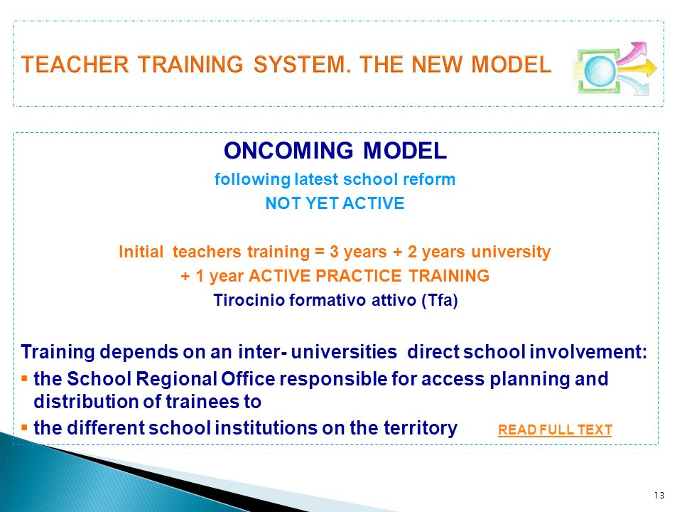 TEACHER TRAINING SYSTEM. THE NEW MODEL