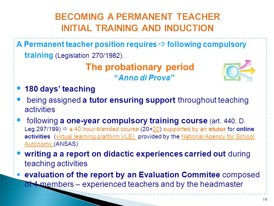 BECOMING A PERMANENT TEACHER INITIAL TRAINING AND INDUCTION