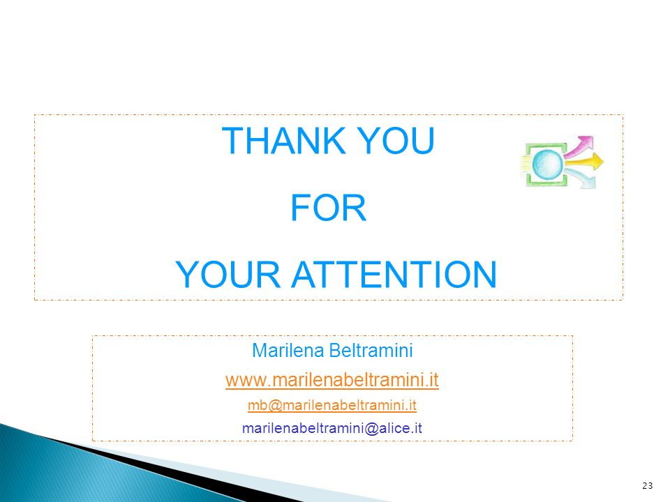 THANK YOU FOR YOUR ATTENTION Marilena Beltramini