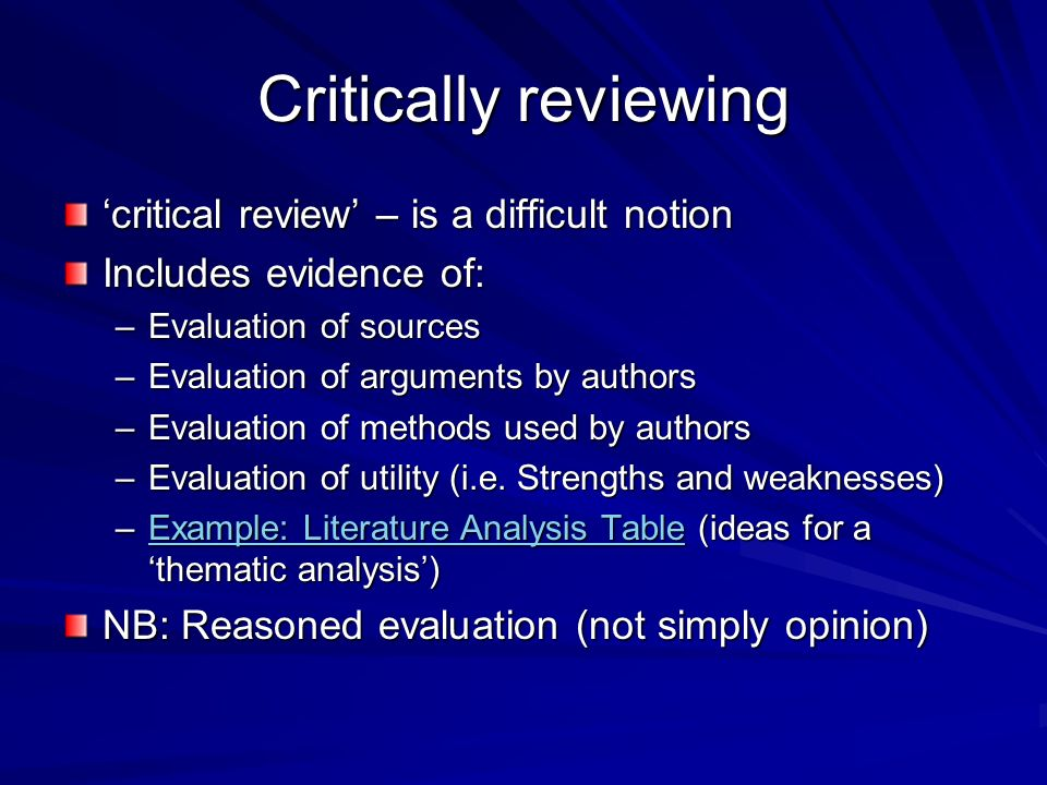 critcally reviewing literature This is a series of 4 lectures teaching how and why we conduct critical literature review this first video is about (why) indeed, there are three main reasons: identification of knowledge gap.