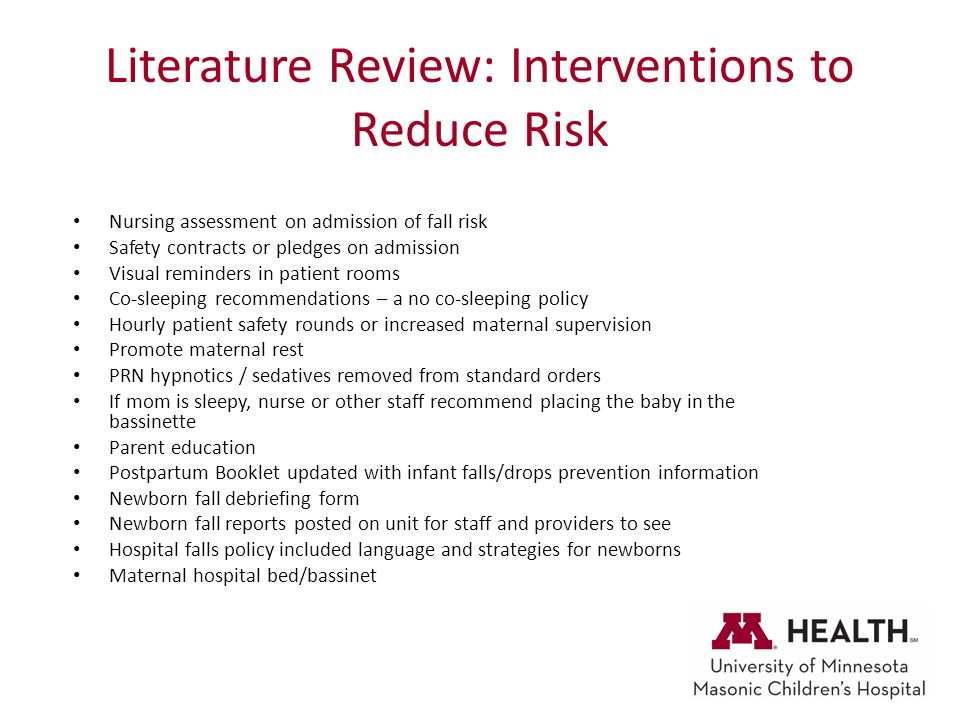 literature review of interventions used to help Through a systematic literature review from january 1980 to december 2013 conducted using medline, the who clean care is safer care team has evaluated the available evidence about the impact of hand hygiene improvement interventions to reduce transmission and/or infections.