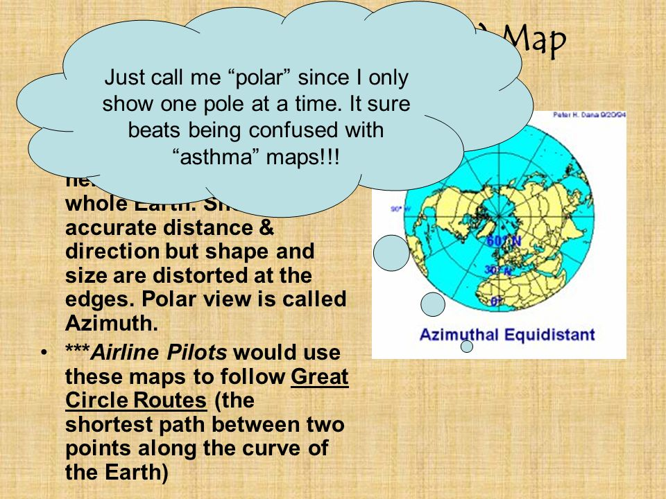 of the earth azimuth aka polar map projection