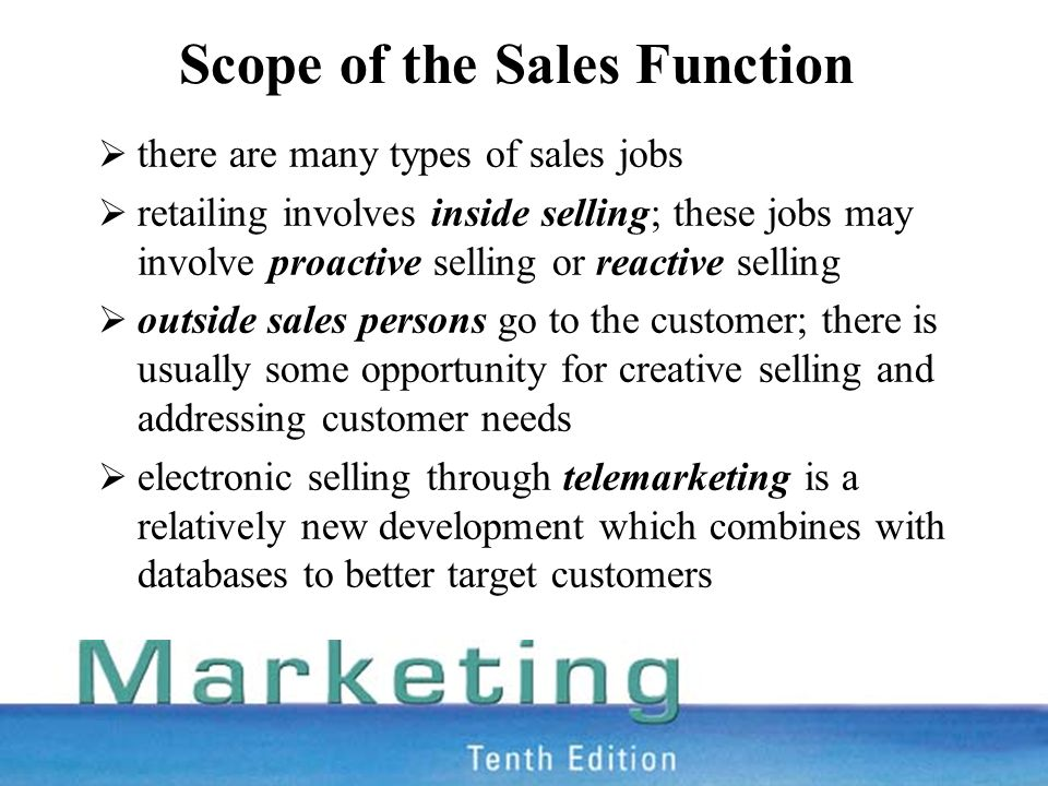 scope of the sales function