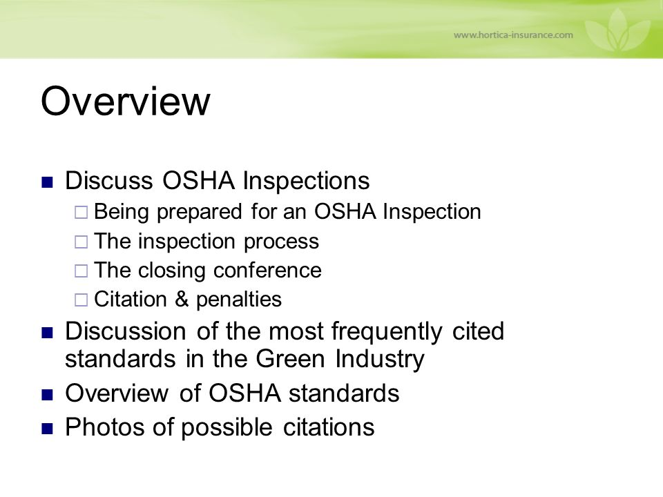 What to Expect During an OSHA Inspection - ppt video online