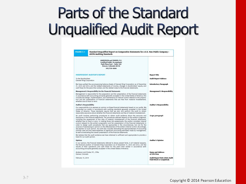 auditors report 08 the auditor's standard report identifies the financial statements au- dited in an opening (introductory) paragraph, describes the nature of an audit in a scope paragraph, and expresses the auditor's opinion in a separate opinion.