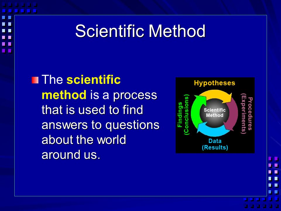 Scientific Method The scientific method is a process that is used to find answers to questions about the world around us.