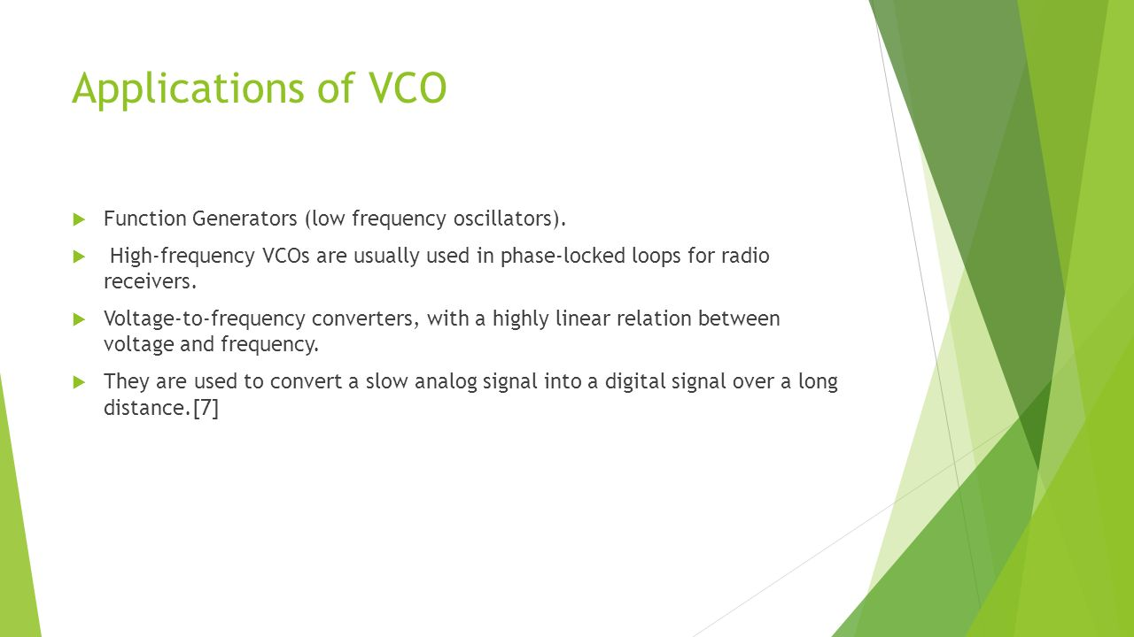 Voltage Controlled Oscillators Ppt Video Online Download Transistor Analogue Oscillator Circuits Applications Of Vco Function Generators Low Frequency