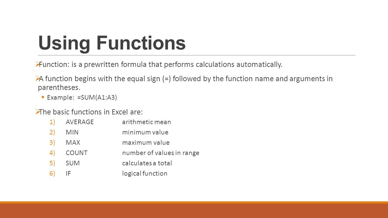 Using Functions Function Is A Prewritten Formula That Performs Calculations Automatically