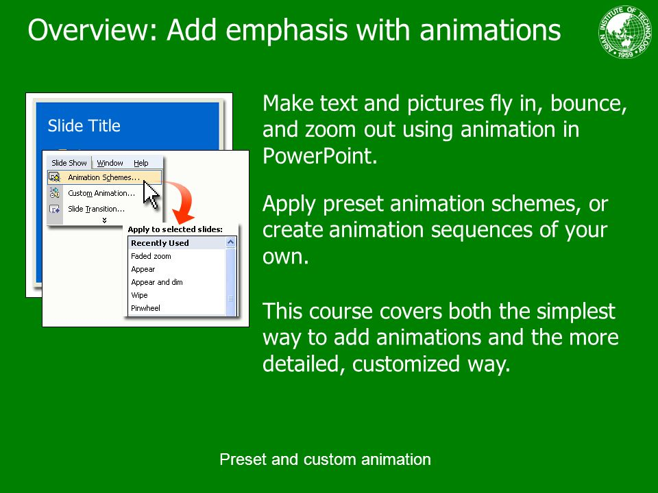 preset and custom animation ppt download