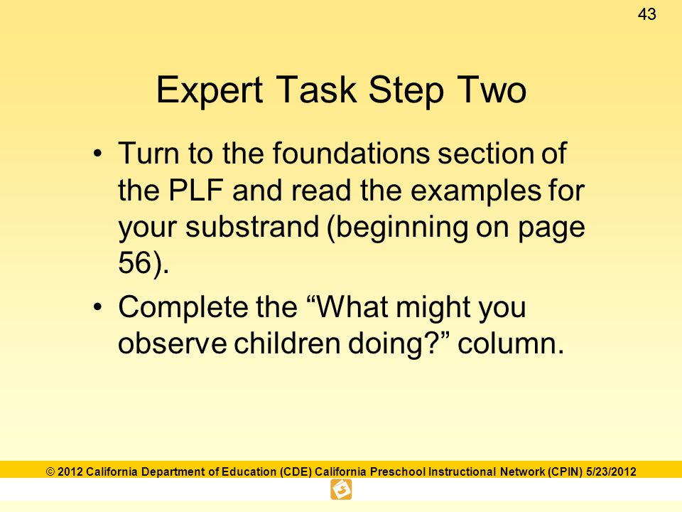 Language and literacy foundations framework ppt download expert task step two turn to the foundations section of the plf and read the examples fandeluxe Choice Image