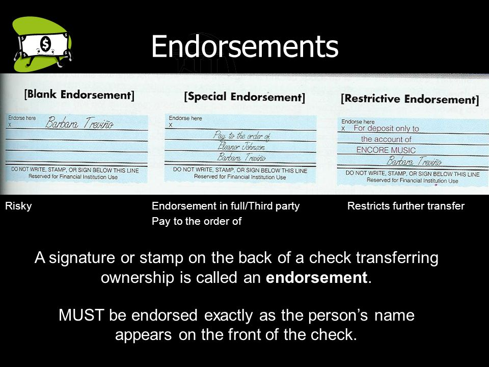 Endorts Risky Endort In Full Third Party Restricts Further Transfer Pay To The Order