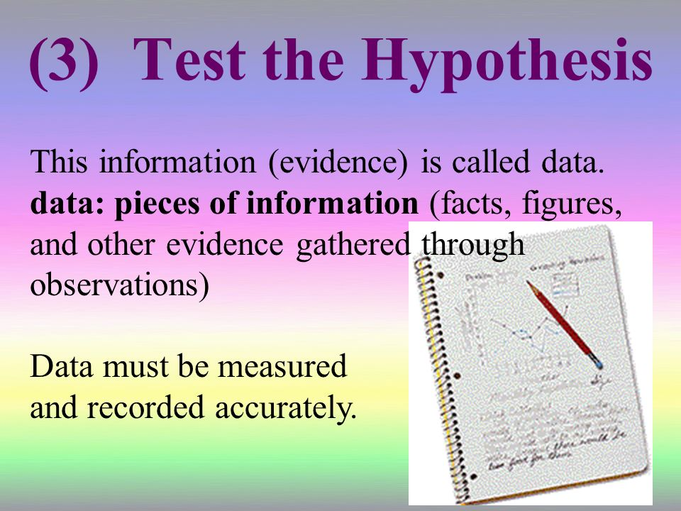 (3) Test the Hypothesis This information (evidence) is called data.
