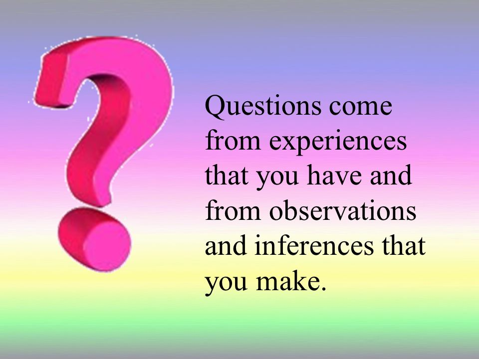 Questions come from experiences that you have and from observations and inferences that you make.