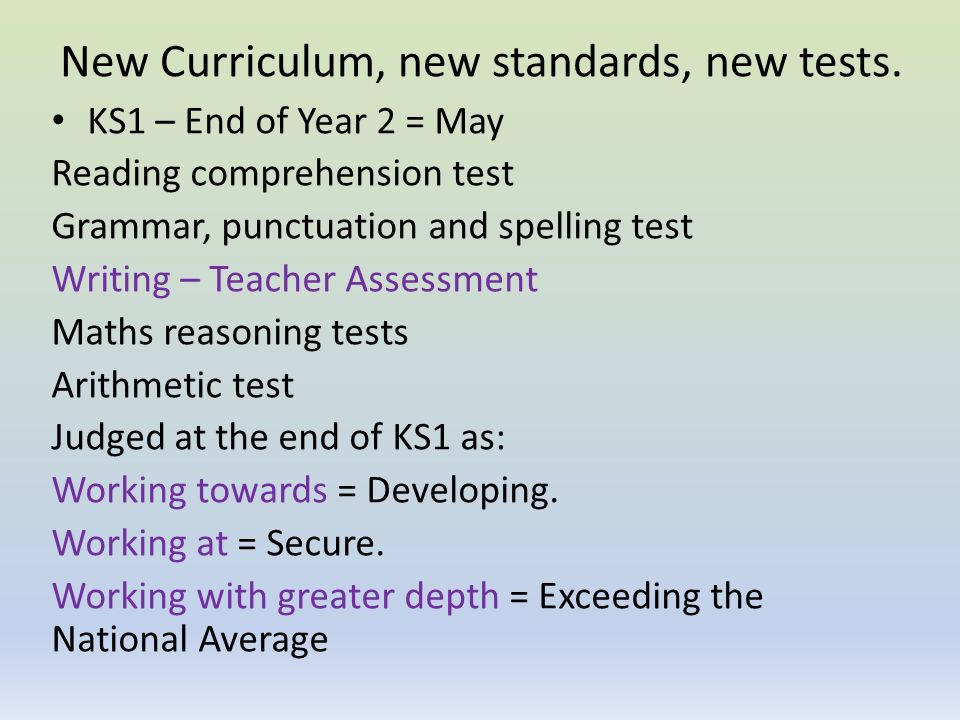 New Curriculum, new standards, new tests.