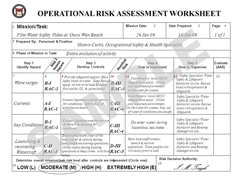 Operational Risk Assessment Worksheet Example