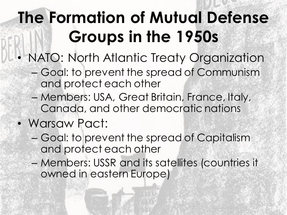 The Formation of Mutual Defense Groups in the 1950s
