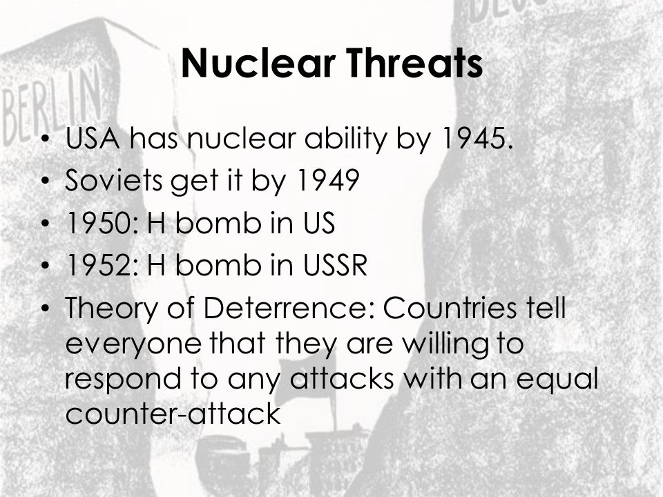 Nuclear Threats USA has nuclear ability by 1945.