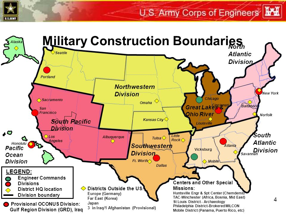 Us Army Corps Of Engineers Update Ppt Download - Us-corps-of-engineers-district-map