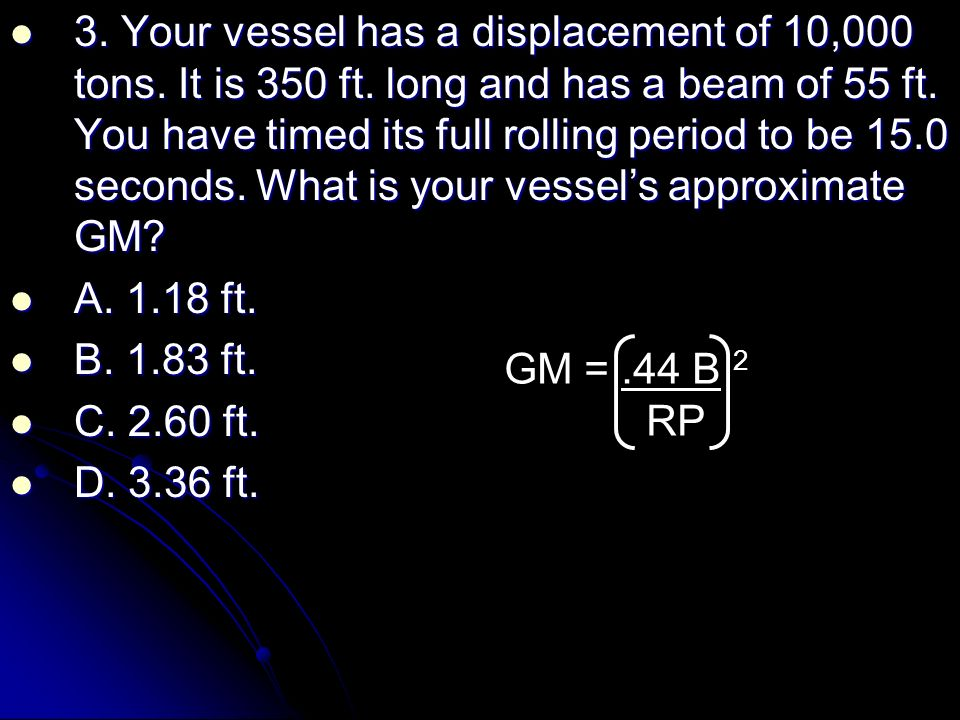 STABILITY AND TRIM CALCULATIONS Rolling Period  - ppt video