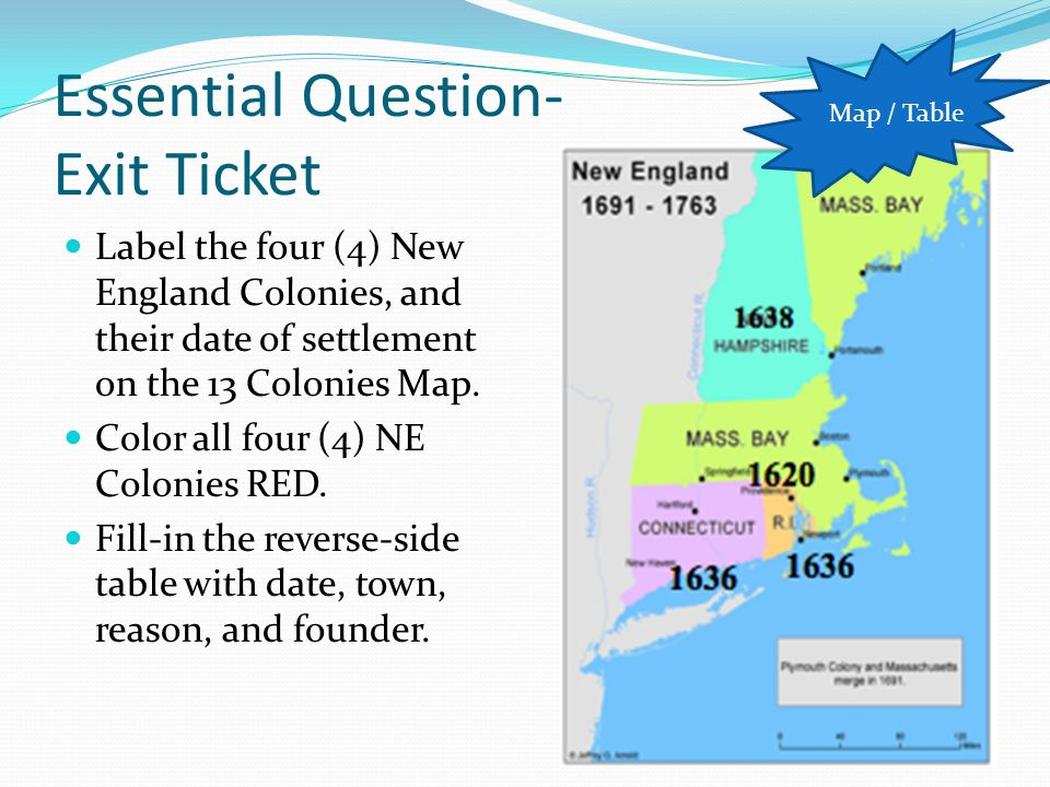Map Of The 4 New England Colonies.Warm Up Warm Up The Early English Settlers Were Saved Many Times