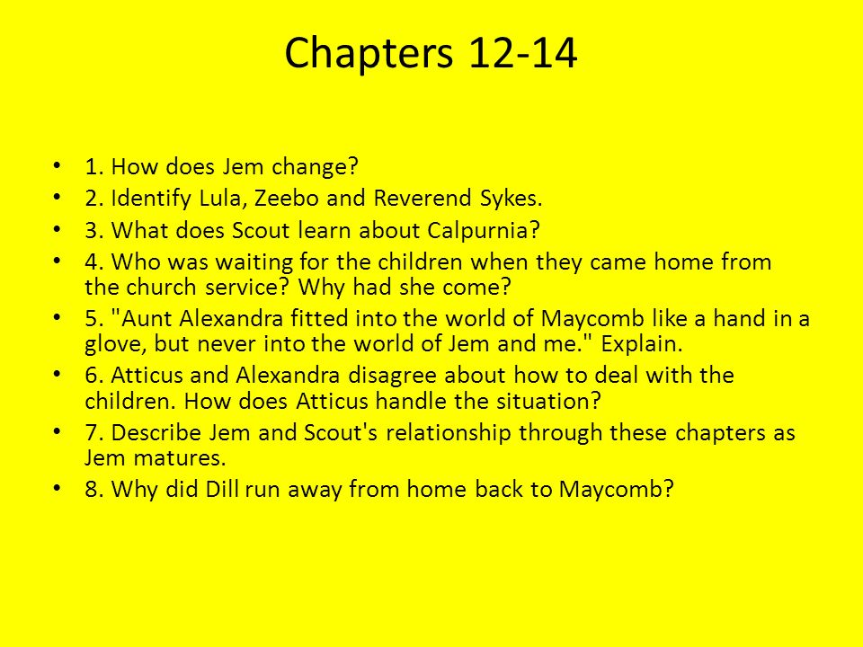 what do jem and scout learn in to kill a mockingbird essay Essay: to kill a mockingbird scout's relationships with the adults she's sorrounded by all differ in different ways whether those relationships are positive or negative, depends on how long scout has known them, what kind of people those adults are, and their background.