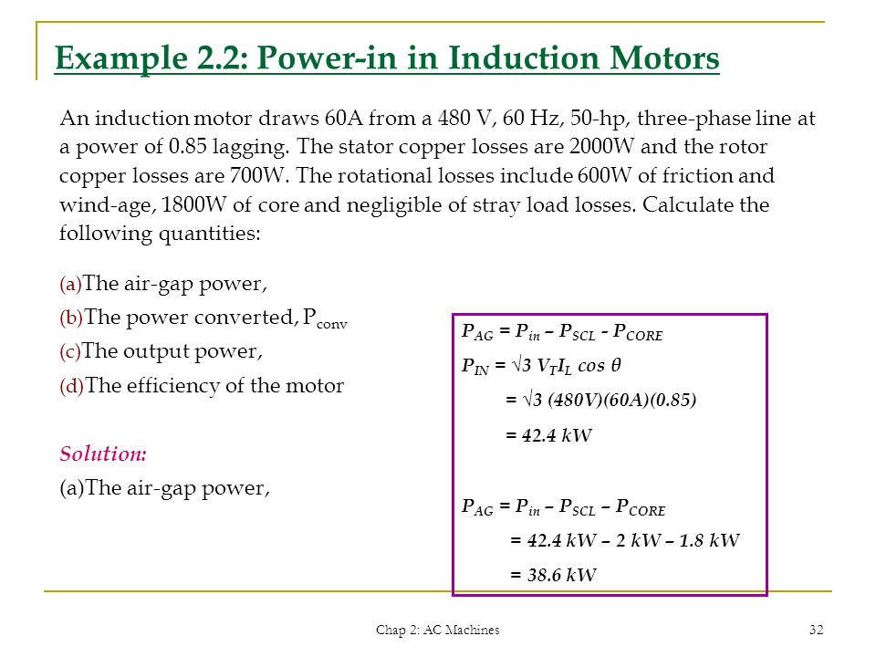 Example 2.2: Power-in in Induction Motors