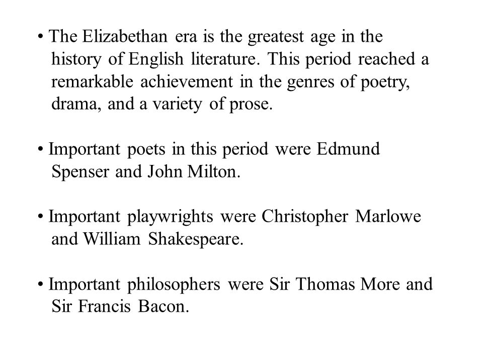 elizabethan period in english literature