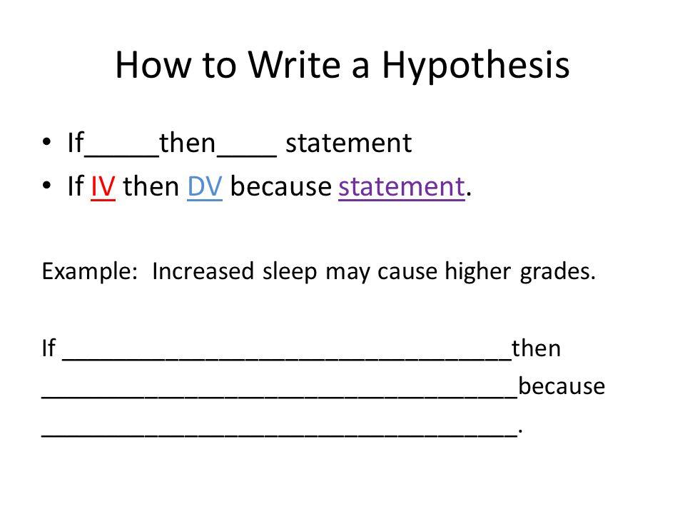 how do we write a hypothesis