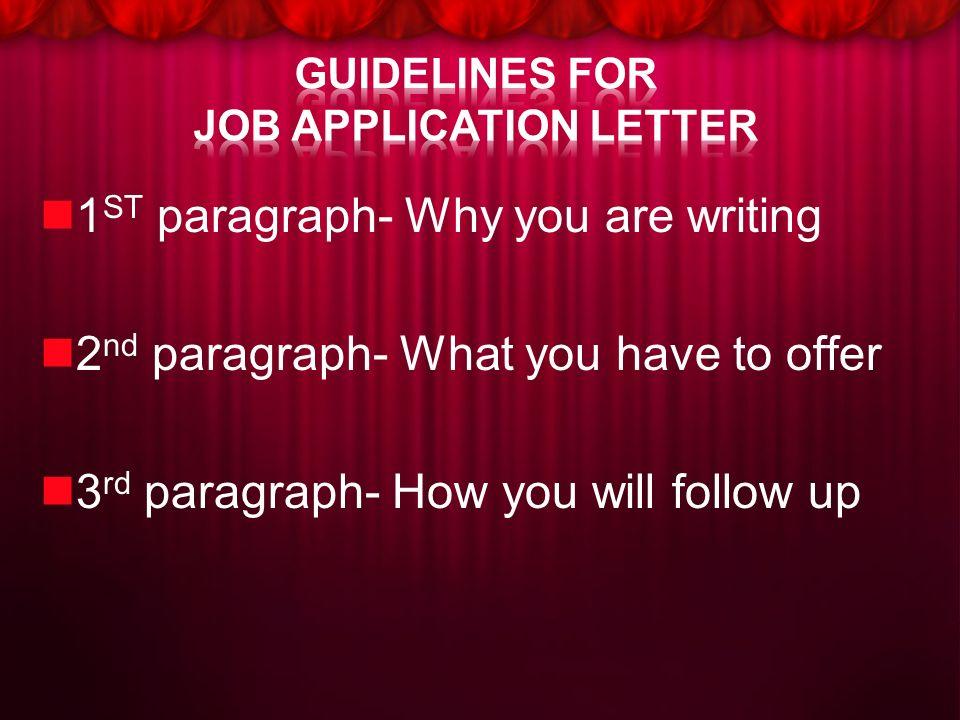 GUIDELINES FOR JOB APPLICATION LETTER JOB APPLICATION
