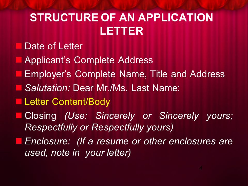 respectfully letter closing application letter ppt 24310 | STRUCTURE%2BOF%2BAN%2BAPPLICATION%2BLETTER