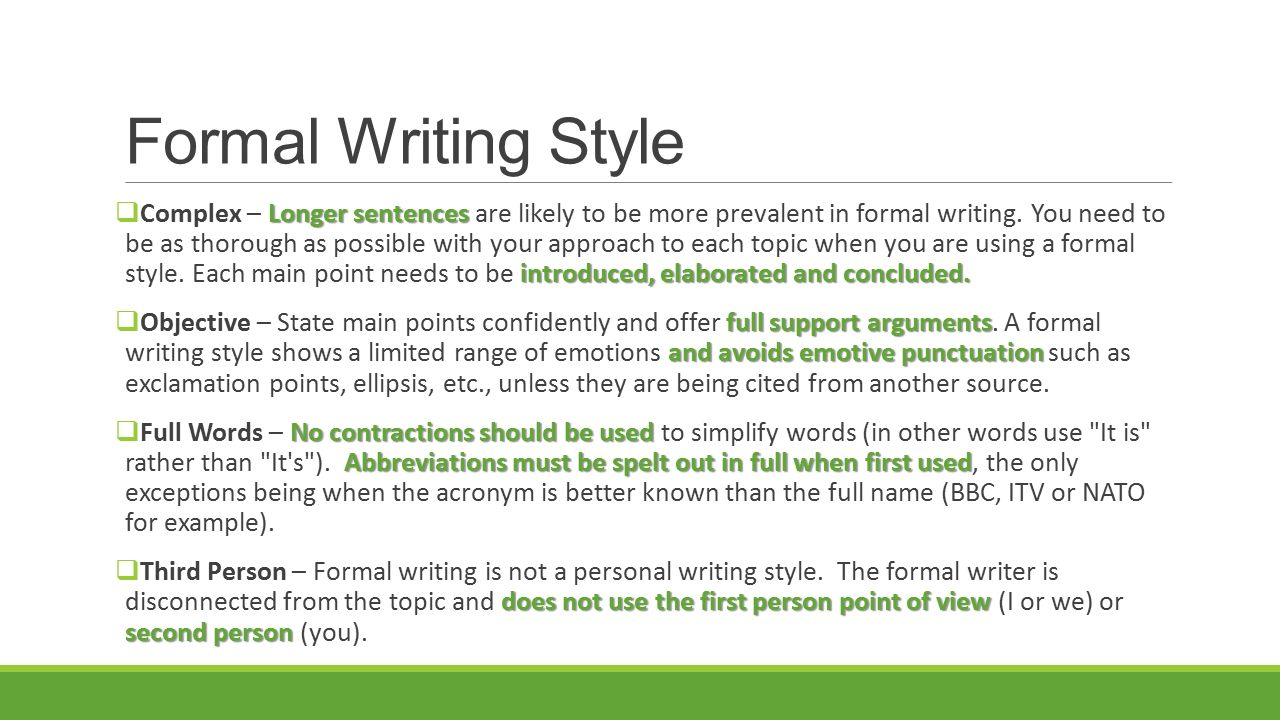 third person formal writing