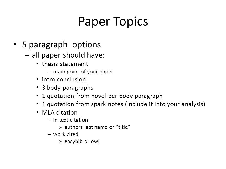 paper topics 5 paragraph options all paper should have