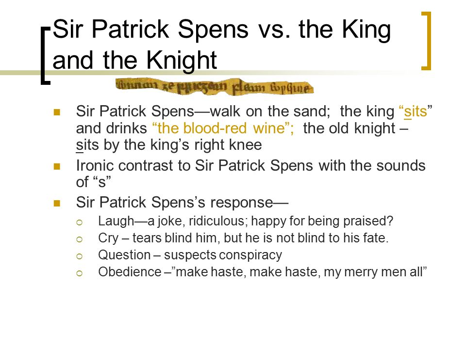 sir patrick spens poem analysis
