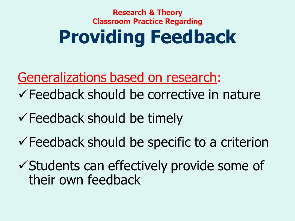 Innovative Classroom Practices ~ Setting objectives providing feedback ppt download