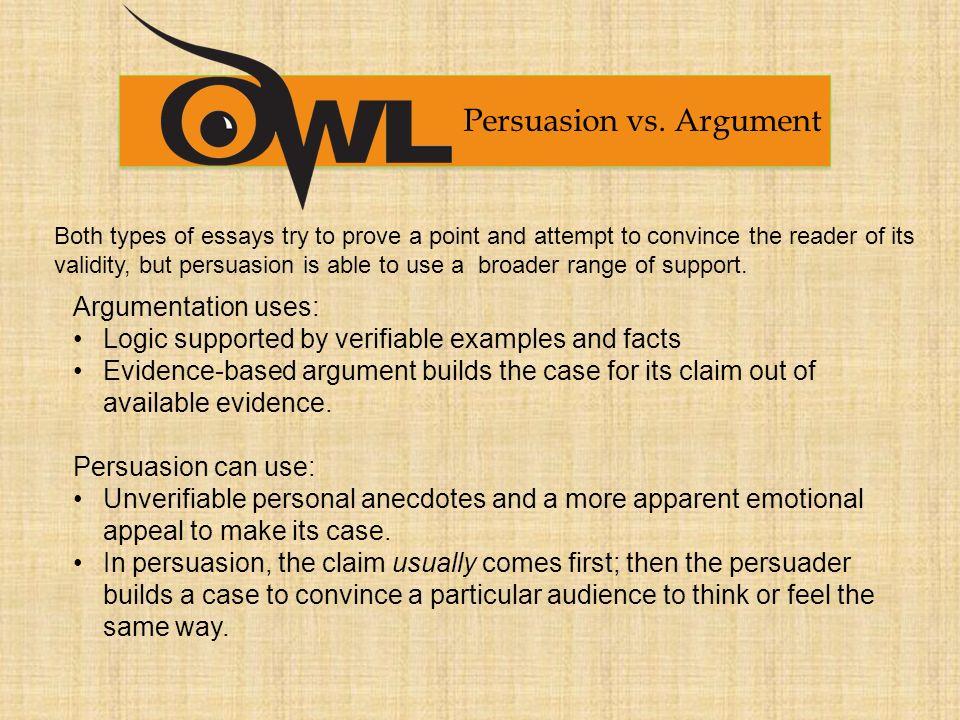 persuasive vs argumentative essay