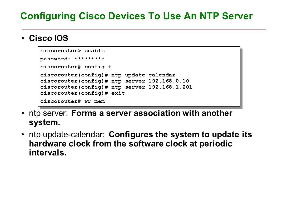 Network Time Protocol Objectives Contents to learn how to