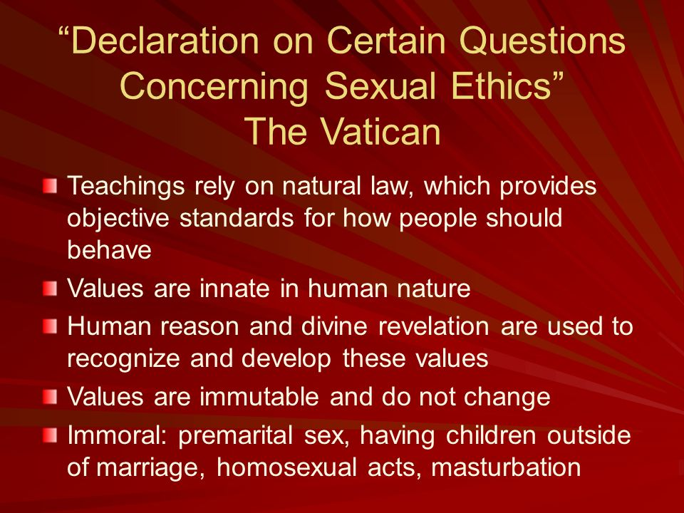 Vatican declaration on sexual ethics