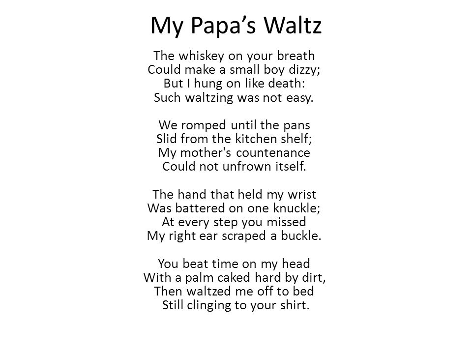 what is my papas waltz about