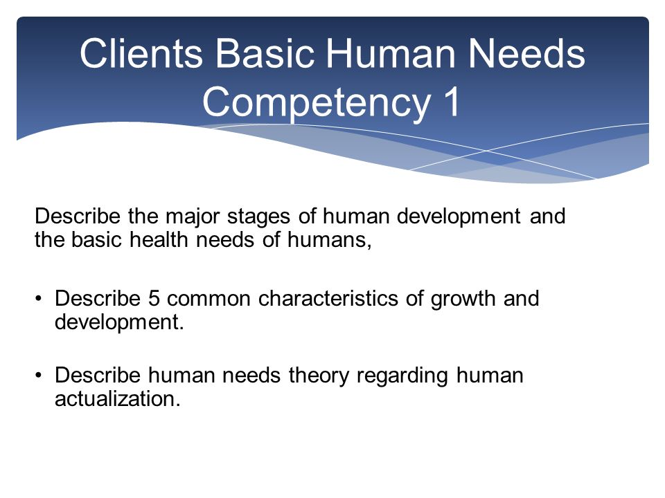 Clients Basic Human Needs Competency 1