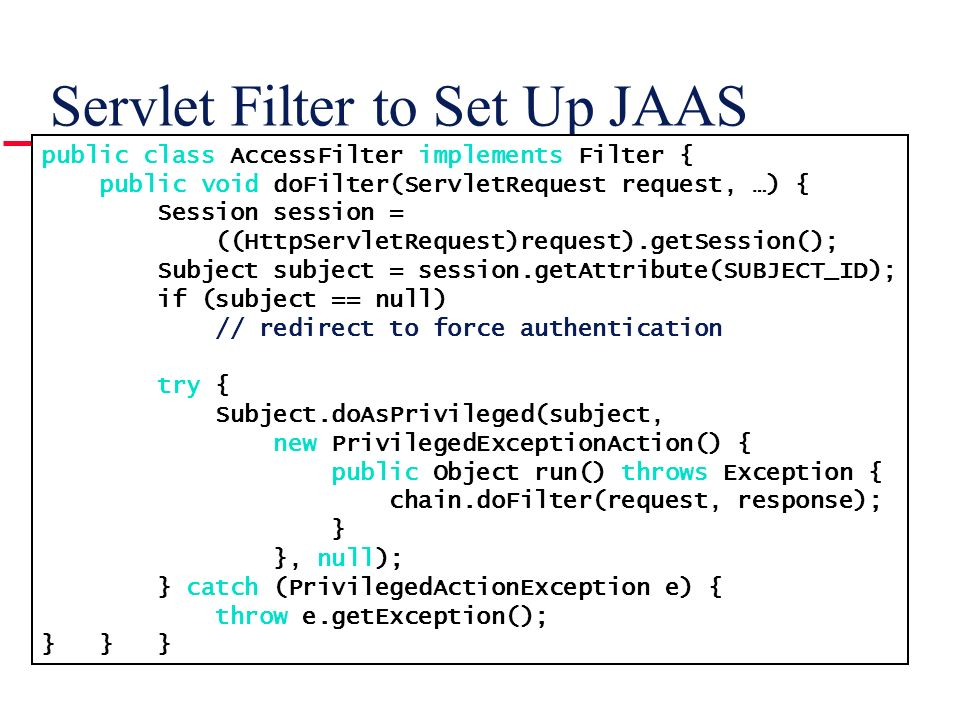 Servlet Filter to Set Up JAAS