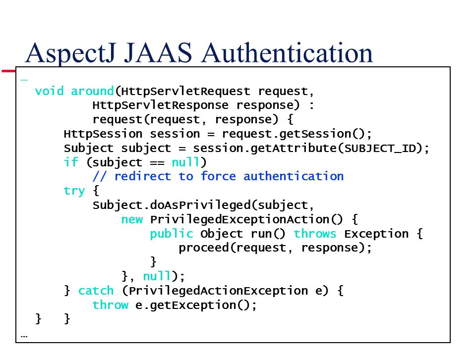 AspectJ JAAS Authentication