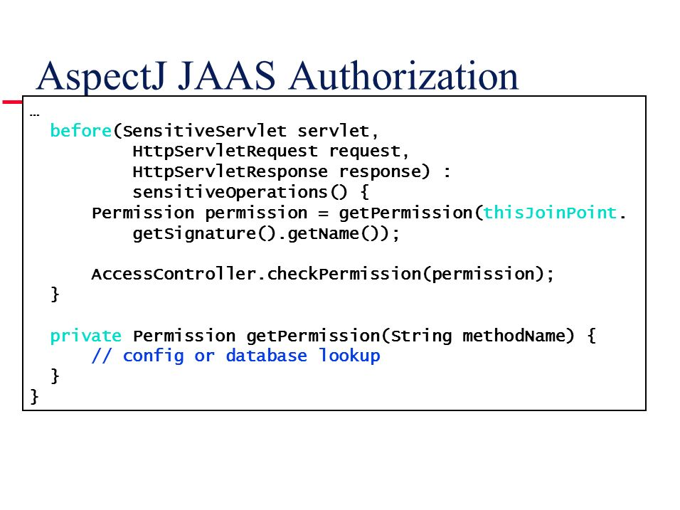 AspectJ JAAS Authorization
